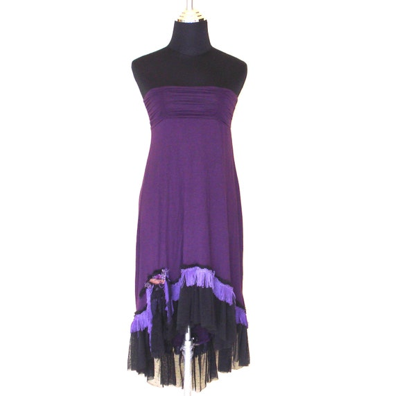 purple stretch gypsy skirt/dress with black lace,purple fringing,shabby strips and vintage motifs...