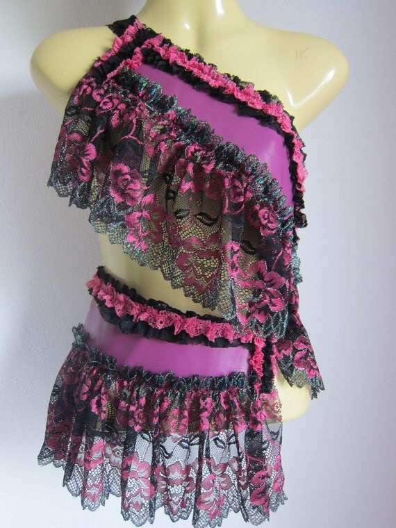 deep pink leather with mixed green pink black lace tutu belt...fun and flirty..