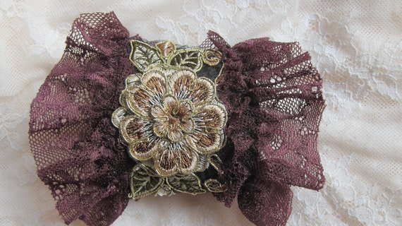 BURNING MAN..FREE postage...woodland leather and lace cuff with vintage motif...