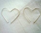 """Small Heart Earrings, Heart Hoop Earrings, Silver Heart Earrings, Custom Made 1/2""""-1 1/2"""""""