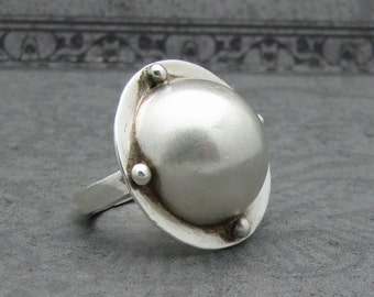 Sterling Silver Dome BOLD STATEMENT RING Satin Finish