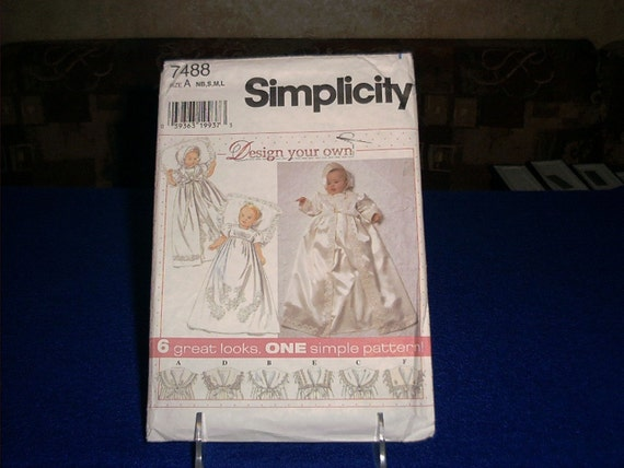 Simplicity 7488 Pattern Babies Christening Gown Coat and Bonnet 1997 Size A NB S M L