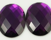 4 pcs 22x30 mm Purple Faceted Mirror Glass Oval Cabochon GG306F2230