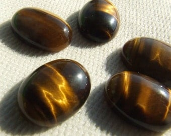 2 pcs Tiger's Eye 13x18 mm oval cabochon