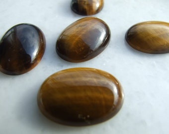 5 pcs Tiger's Eye 18x25 mm oval cabochon