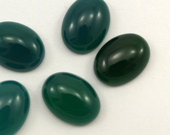 2 pcs 10x14 mm dyed green agate oval cabochon