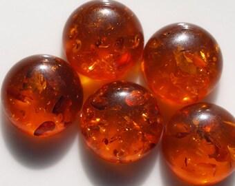6 Pcs 12 mm Baltic Amber (Imitation) Round cabochon 01  120CB