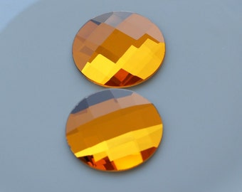 1 pc 40 mm Citrine Yellow Faceted Mirror Glass Round Cabochon GG6F40