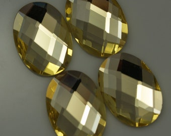 4 pcs 18x25 mm Yellow Faceted Mirror Glass Round Cabochon GG51F1825
