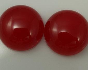 2 pcs 20 mm Red dyed quartzite cabochons  200CB