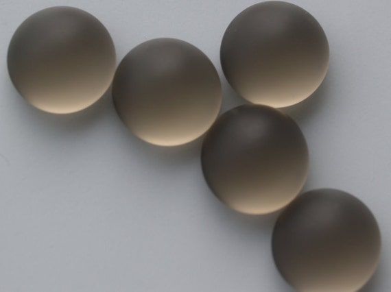 20 pcs 10 mm Frosted Grey Chzech Glass Round Cabochons GIG10  100CB