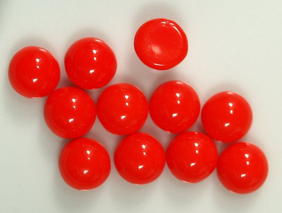 20 pcs 6 mm Coral Red chzech Glass Round Cabochons GCR6  60CB