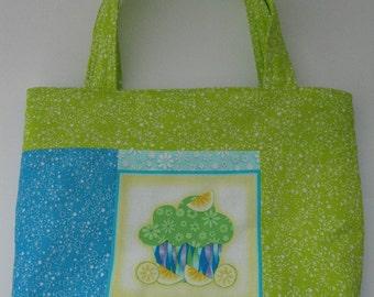 Cupcake Tote Bag, Novelty Handbag, Cupcake Gift Bag, Kids Tote Bag Lime Green Turquoise Blue Gift under 15 One of a Kind Happy Birthday Bag