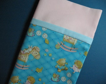 14 x 20 Pillowcase Travel Size Ready to Ship CLEARANCE DayCare Child Size Pillowcase, Doll Tea Party, Rocking Horse Nursery Decor under 10