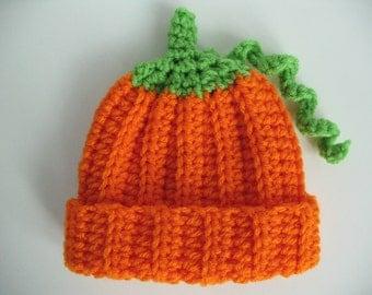 Crochet Baby Pumpkin Hat 3 to 6 months Ready to Ship Photo Prop Vegetable Hat Baby Boy Baby Girl Halloween Pumpkin Hat Gift under 10