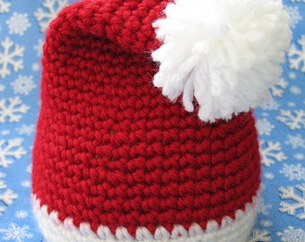 Baby Santa Hat, Crochet, 3 to 6 months, Ready to Ship, Christmas Hat, Baby Holiday Hat, Baby Boy Baby Girl Photo Prop Hat Cap Gift under 15