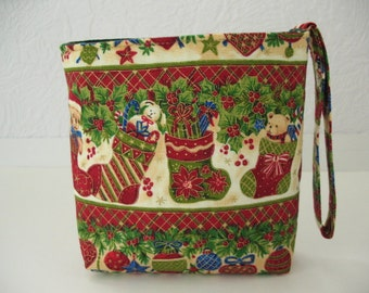 Christmas Wristlet, Holiday Small Cosmetic Bag Purse Teddy Bear in Stockings Holly Berries Ornaments Velcro Pouch, SALE Gift under 10