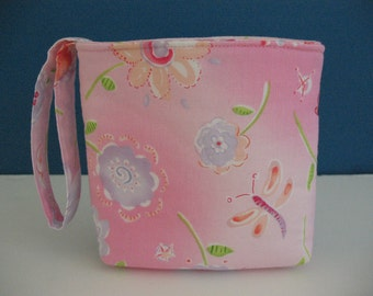 Wristlet CLEARANCE Organizer Small Velcro Pouch, Pastel Flowers, Watercolor-like Spring Light Pink, Dragonfly, Mini Fabric Bag Gift under 10