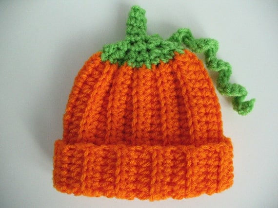 Crochet Baby Pumpkin Hat Ready to Ship 0 to 3 Months Halloween Holiday Orange   Photo Prop Baby Shower Boy or Girl Gift under 10