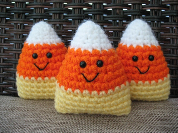 Crochet Candy Corn, Set of 3, Bowl Fillers