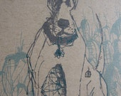Sketched Great Dane with sparkle blue collar in garden - 5x7 print