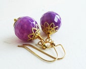 Purple Stone Fire Agate Earrings Dangle faceted  with gold accents Bridesmaid Wedding A116