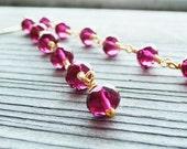 Fuchsia Wire Wrapped Czech Glass Dangle Earrings Magenta