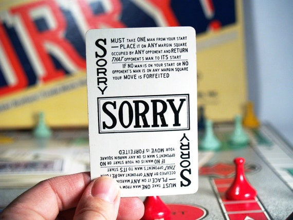 1950 Sorry Board Game
