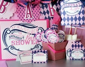 Baby Girl Shower Decorations fully assembled party pack with customization and FREE SHIPPING- Celebrate Life, pink and Navy, argyle