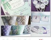 Ballerina Birthday fully assembled party pack with customization and FREE SHIPPING- Purple, gray, Teal