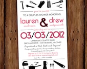 Modern Couples Shower Invitation - His & Hers Couples Shower Invite - Tools and Cookware