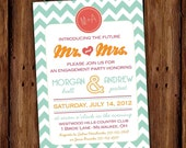 Chevron Engagement Party Invitation - Couples Shower - Save the Date - Rehearsal Dinner  - Chevron Stripe