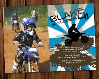 Dirt Bike Birthday Invitation - ATV - Motorcycle - Four Wheeler - Quad