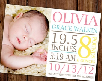 Large Text Baby Announcement - Bold Photo Baby Girl Birth Announcement - Jungle Gym