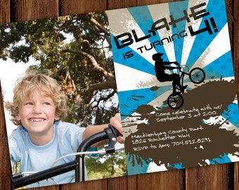 Bicycle BMX Bike Birthday Invitation