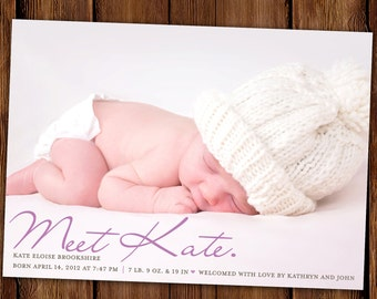 "Simply Classic Photo Birth Announcement, Baby Announcement: PRINTABLE or Printed Cards ""Meet the Baby"""