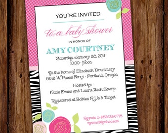 Girl Baby Shower Invitation - Sugar and Spice and Everything Nice - Zebra Print and Flowers