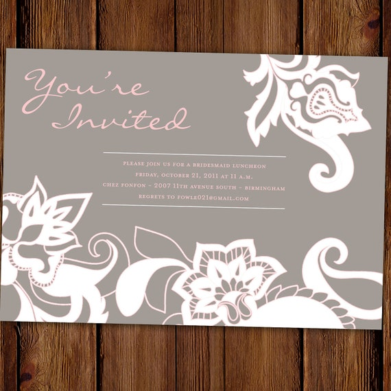 Traditional Bridal Shower Invitation Floral Lace Bridal