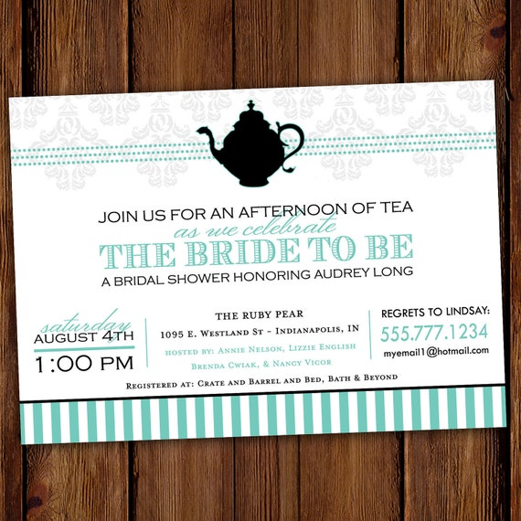 Tea Party Invitation -  Bridal Showers, Birthday Parties, Tea Parties - Two for Tea