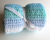 Crocheted Blue, Green, Teal, and White Baby Blanket