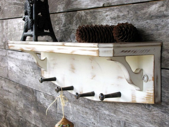 Wood Shelving - Distressed Coat Rack - Distressed Shelf - Cottage Chic - Shabby