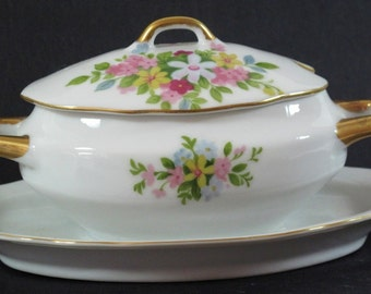 China Set - Lefton China Sugar Bowl or Small Casserole with Under Tray 7157 Hand Painted Floral