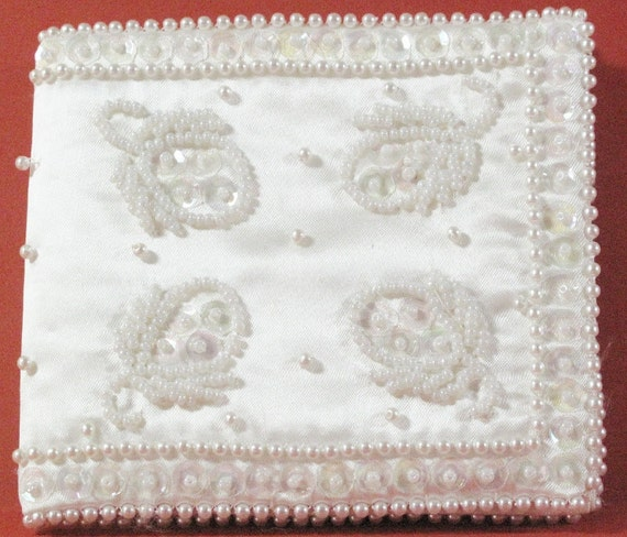 Purse - White Satin Beaded Sequins and Pearl Wallet - Small Carrying Clutch
