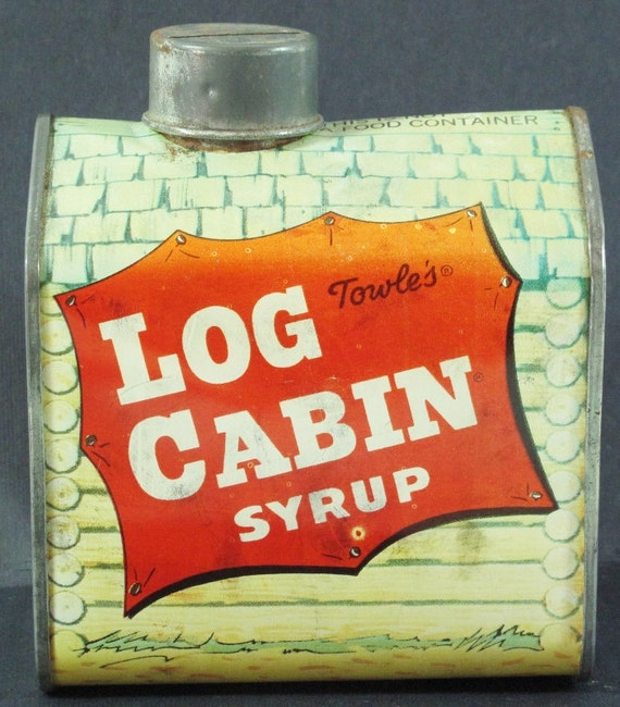 Vintage Advertising Log Cabin Syrup Tin Bank  House with People