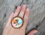 Rays Sliced Wood Ring