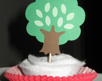 Woodland Animal  - Tree Cupcake Toppers - Set of 4