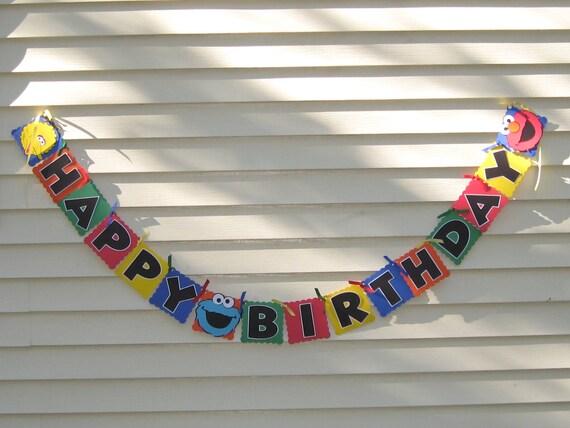 Sesame Street Inspired Happy Birthday Banner