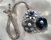 Denim Blue and Silver Pendant Necklace with Silver Chain