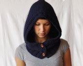 KNITTED WINTER HOOD, warm, woolen, perfect for winter, navy blue, uniwersal size