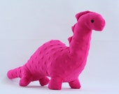 Stuffed Dinosaur Toy - Hot Pink Minky Plush Dinosaur